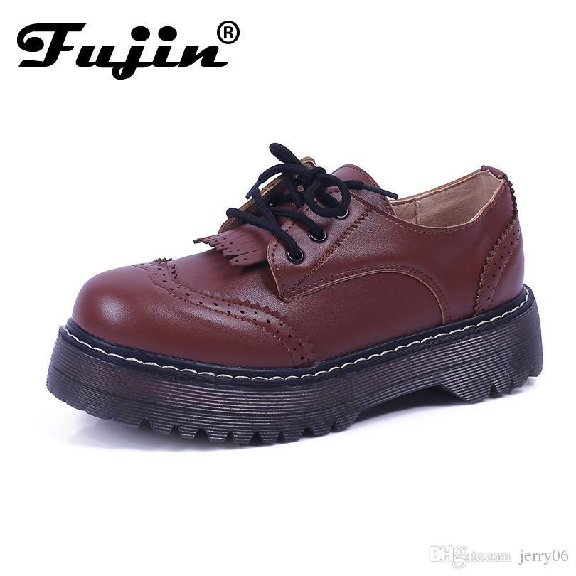 9118cb69dec British Gothnic Lace Up Retro Preppy Flat Platform Oxfords For Female  Womens Brogues Wingtip Platform Creepers Shoes Plus Size Sports Shoes  Womens Shoes ...