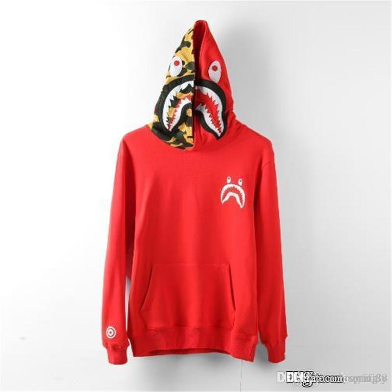 f68150404dcd 2019 2017 New Red Bap A Bathing A Ape Jacket SHARK Head Camo FULL ZIP HOODIE  Clothes Shark Hooded Hoodie Coat From Guci88