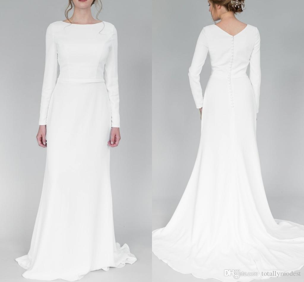 Mermaid Long Sleeves Modest Wedding Dresses 2018 With Sleeves Boat Neck  Full Sleeves Simple Informal Lds Temple Bridal Gowns Custom Made Beach  Mermaid ...