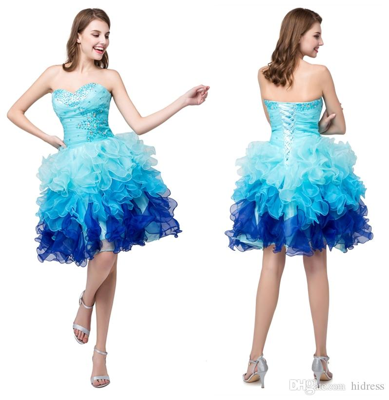 c7807234a3e 2018 Prom Dress Quinceanera Dresses Ball Gowns With Organza Tiered Ruffles  Beading Sweet 15 Dresses Prom Homecoming Dresses Stock 2015 Gowns  Affordable ...
