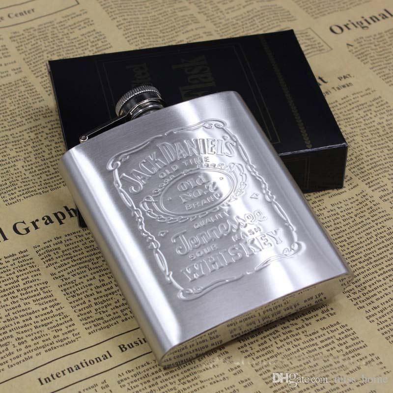 Neuheit Portable 7oz Edelstahl Flachmann mit Box als Geschenk Whiskey Honest Flask Becher Wisky Jerry Can Russische Wein Bier Whiskey