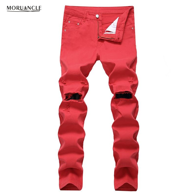 MORUANCLE Salut-Rue Hommes Ripped Jeans Pantalon Avec Trous Au Genou Slim Fit Stretchy Denim Pantalon En Denim Taille Plus 28-42