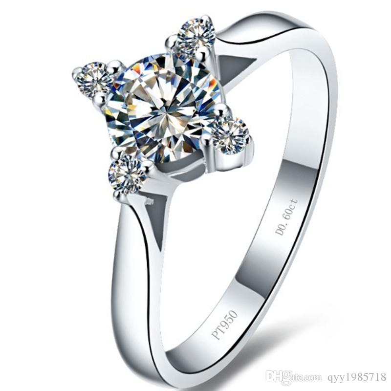 df48b93dafe 2019 Wholesale 0.6CT Square Cut Synthetic Diamond Ring 925 Sterling Silver  18K White Gold Plated Engagement Wedding Jewelry For Women From Qyy1985718