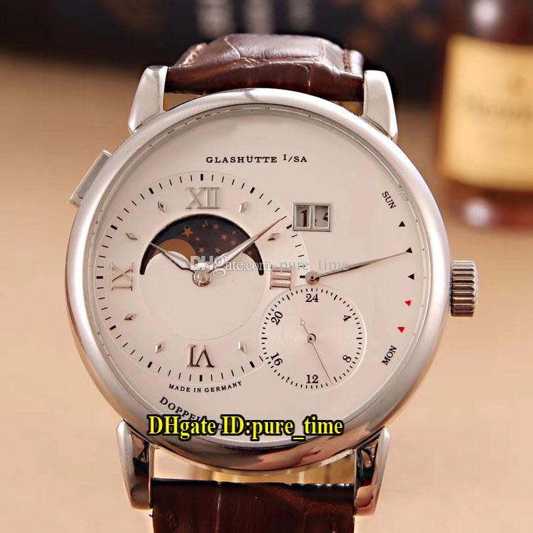 New Grand Lange1 Glashutte Big Date Moon Phase 139.025 Automatic White Dial Mens Watch 316L Steel Case Leather Strap Sport Watches