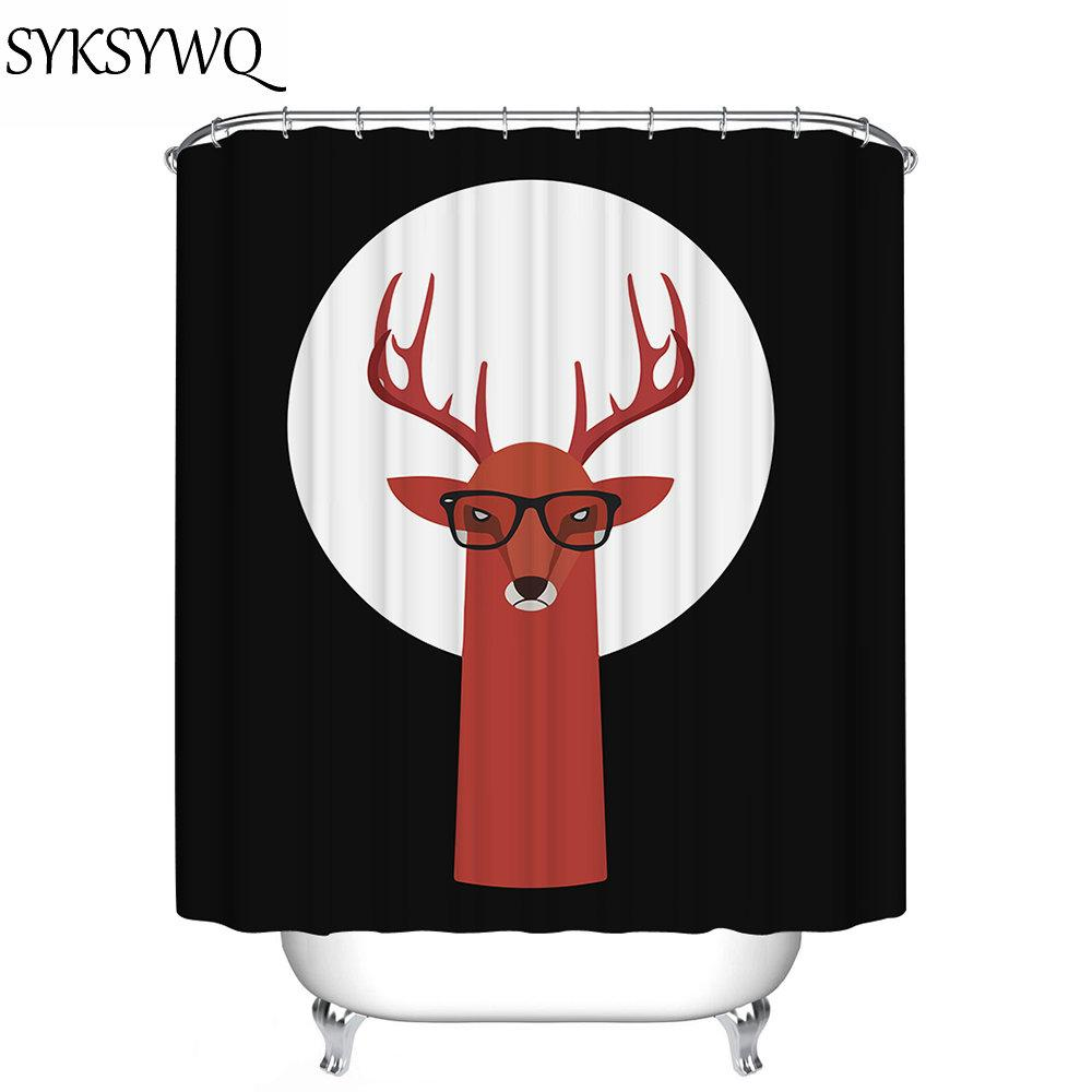 2019 Elk Shower Curtain Black And White Moon New Arrival Giraffe Printed Rideau De Douche 3d Rings From Aurorl 2755