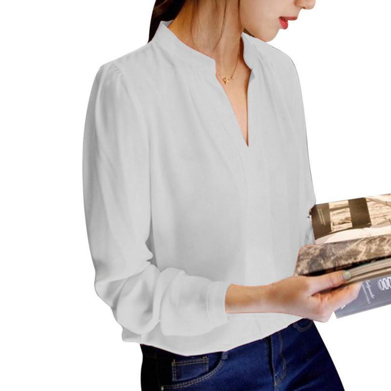 Laamei Primavera Outono Escritório Camisas Mulheres Com Decote Em V Tops de Manga Comprida Casual Chiffon Blusa Feminina Senhoras Desgaste do Trabalho Sólida 4 Cores