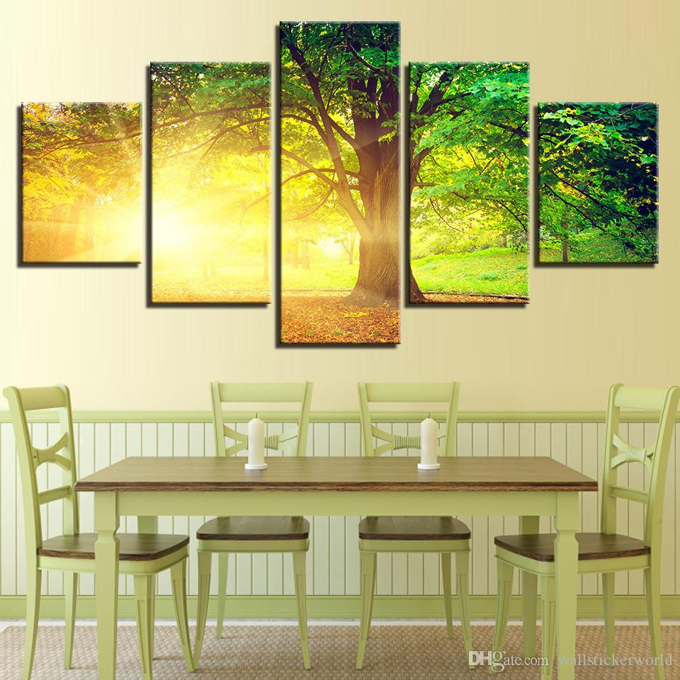 Canvas HD Prints Pictures For Living Room Wall Art Sunlight Trees Paintings Home Decor Summer Scenery Poster Framework