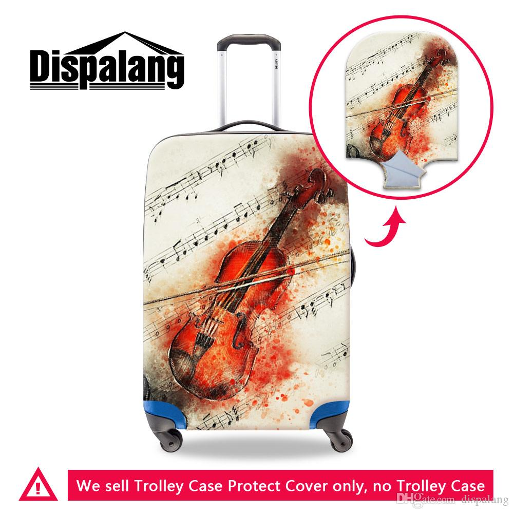 Portable Stretch Elastic Travel Luggage Cover Music Violin Printing Suitcase Protective Covers For 18-30 Inch Trolley Case Anti-Dust Covers