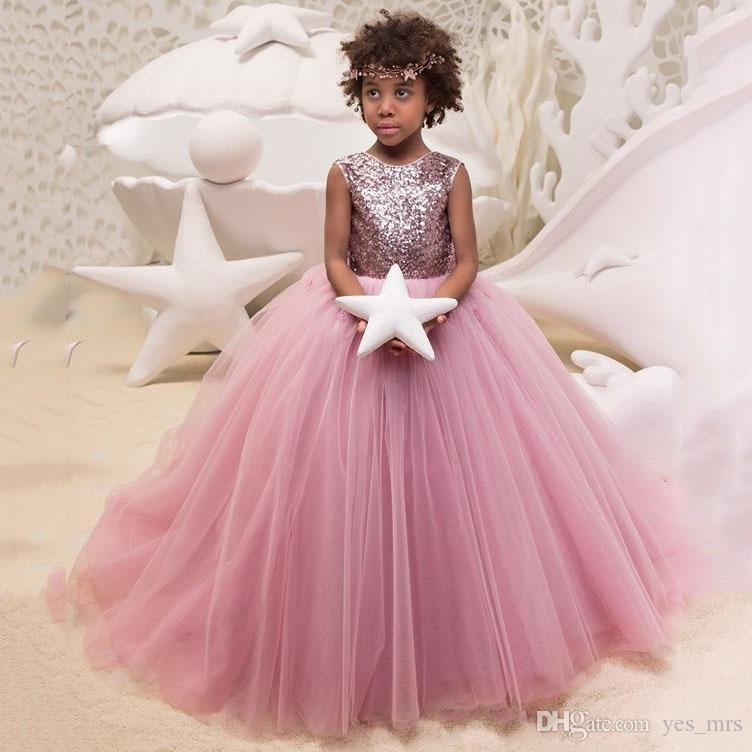 d023ce747589 2018 Pink Flower Girl Dresses Jewel Sleeveless Sequined Tulle Pageant Gowns  With Big Bow Applique Tiered Sweep Train Custom Made Party Gowns Amazing  Dresses ...