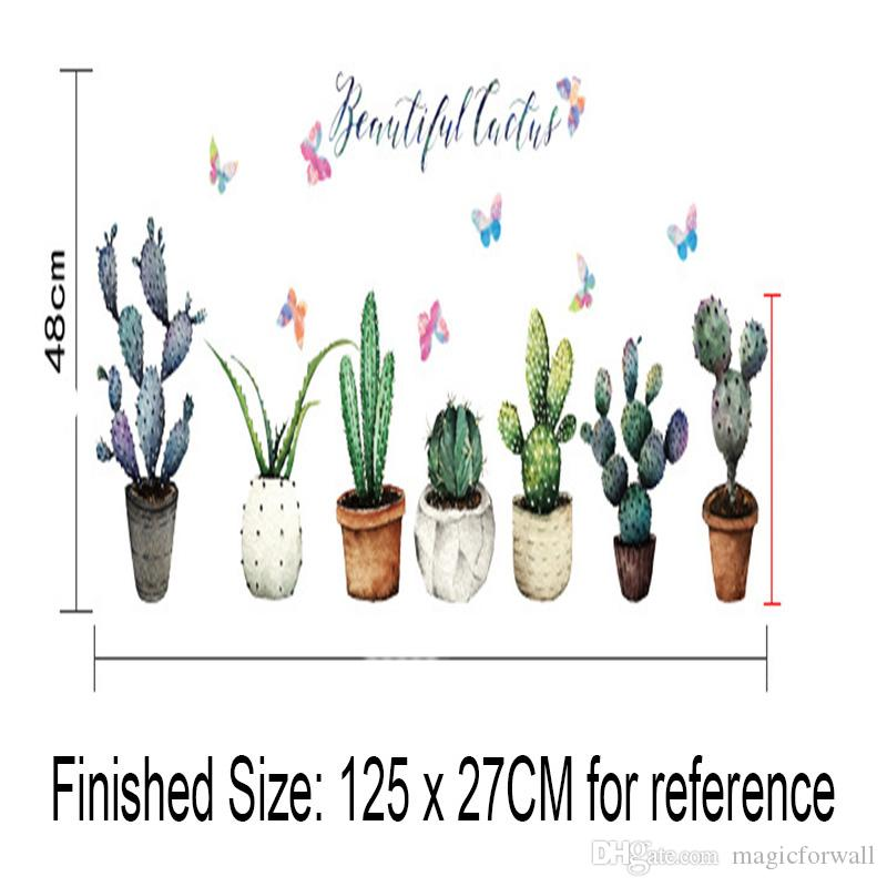 Green Potted Plants Cactus Wall Stickers Cabinet Refrigerators Window Glass Decor Wall Mural Poster Art Skirting Line Border Decor Decals