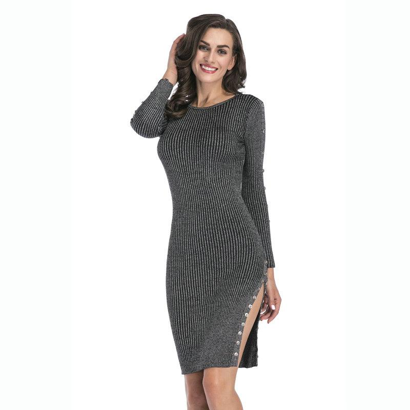 a88f1156ef4 2019 Sexy Long Sleeve Knitted Bodycon Dress For Women 2018 Autumn Winter  Knitwear Tight Dresses Fashion Casual Business Cocktail Party Club Dress  From ...