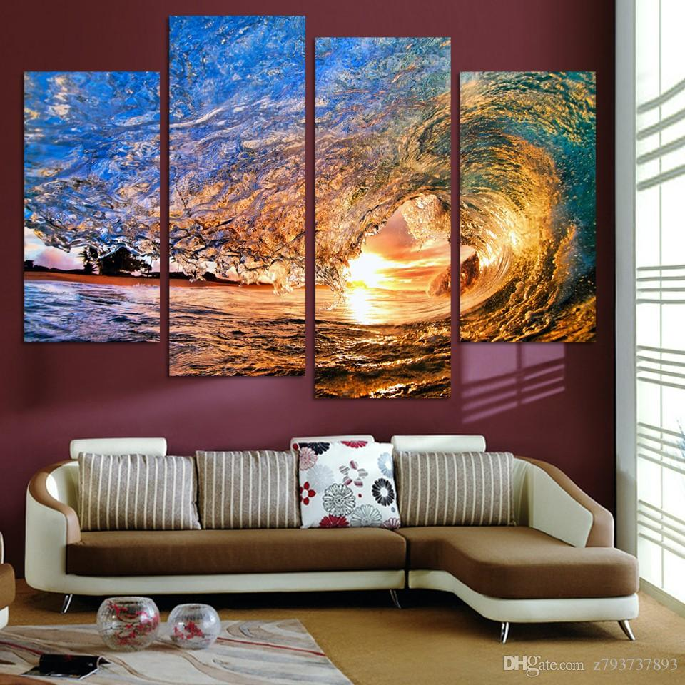 Home Decor Modern Painting Modular Picture 4 Pieces Sunset Beach With Screw Ocean Wave Canvas Art Prints Poster Wall Living Room