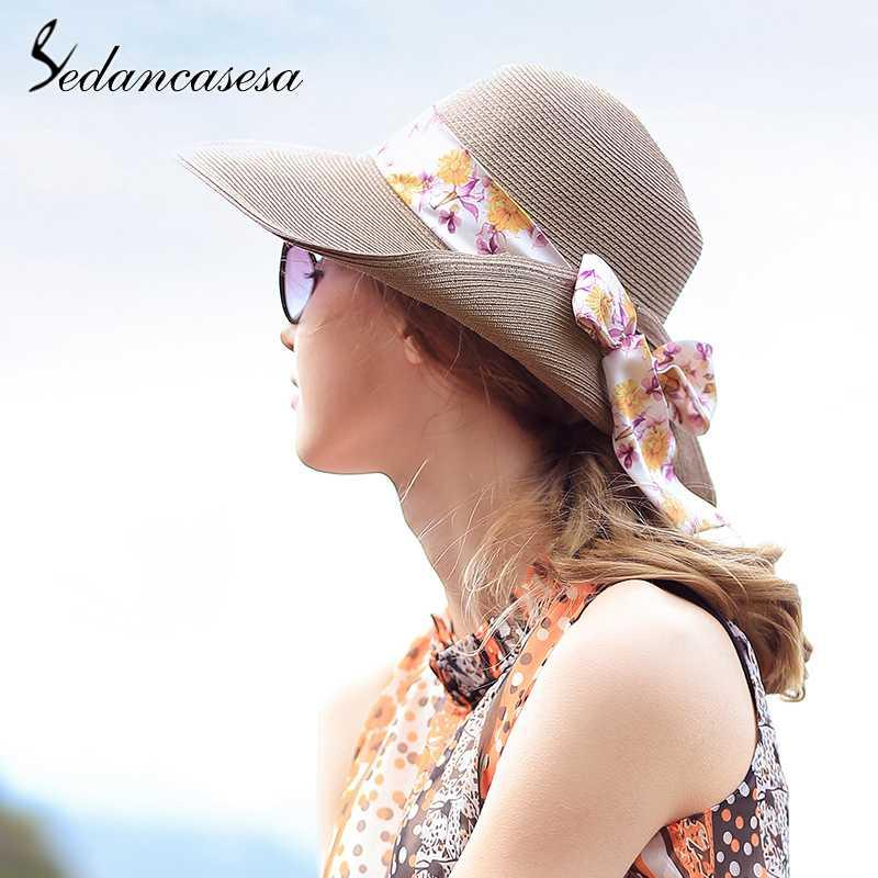 02893514af252 Sedancasesa Cute Floral Bowknot Sun Visors Cap Wide Brim Lady Women Summer  Sun Hats Beach Hats For Girls Straw Hat Chapeau Summer Hats Winter Hats For  Women ...