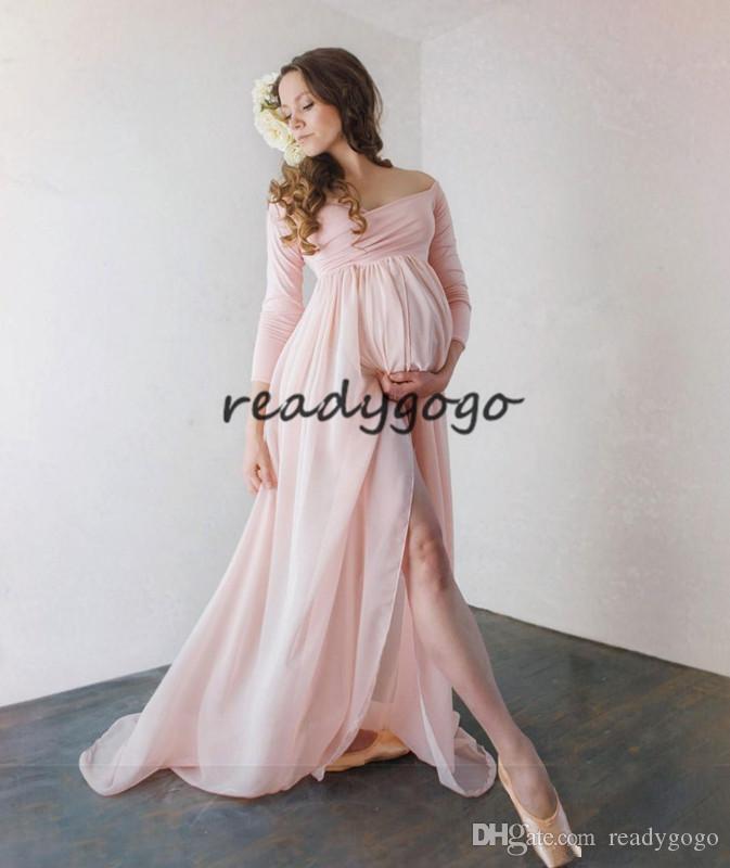 e26561b83e6b5 Satın Al Çekici Şifon Hamile Abiye Uzun Kollu Allık Bölünmüş Ön Hamile  Elbisesi Kapalı Omuz Custom Made Maxi Elbise, $96.49   DHgate.Com'da