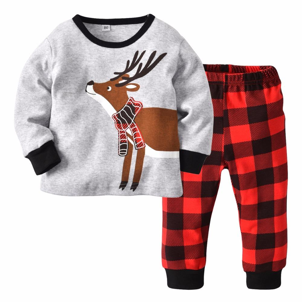 b5300d70a Children S Home Clothing Cotton Christmas Deer Long Sleeved Boys ...