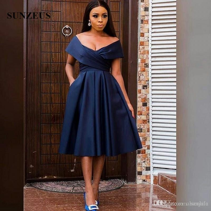 ca44a5b242ee Navy Blue Prom Party Dresses A Line Off Shoulder Cap Sleeve Tea Length  Formal Dress Elegant Satin Prom Gowns For Women Short Formal Dresses Unique  Prom ...