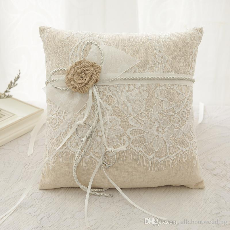 Vintage Rustic Wedding Ring Pillow Linen Lace Ring Bearer Ribbon