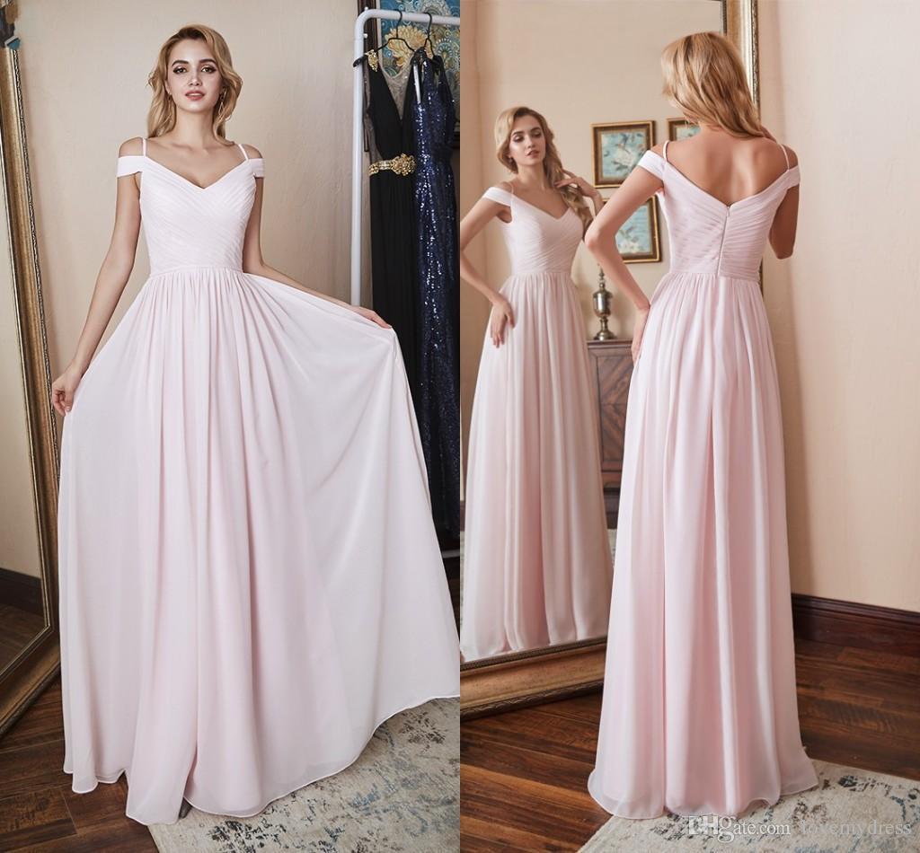 Fashion Cold Shoulder Bridesmaid Dresses Chiffon Ruched Long Cheap V Neck  Zipper Back Evening Formal Dress Gowns For Wedding Party Simple Bridesmaid  Dresses ... 3e7ffa82b50