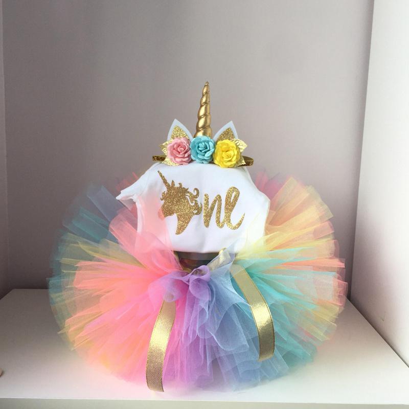 a0768bb972bdd Baby Girl First 1st Birthday Party Tutu Dresses Unicorn Headband Vestido  Infantil Princess Clothes 1 Year Girls Baptism Clothing