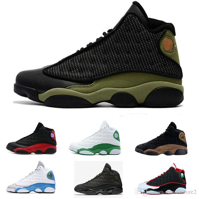 promo code 75ffc c1aac Großhandel Nike Air Jordan Aj13 Günstige 2018 Hohe Qualität Schuhe 13 Xiii  13 S Männer Basketball Schuhe Frauen Gezüchtet Schwarz Braun Weiß Hologramm  ...