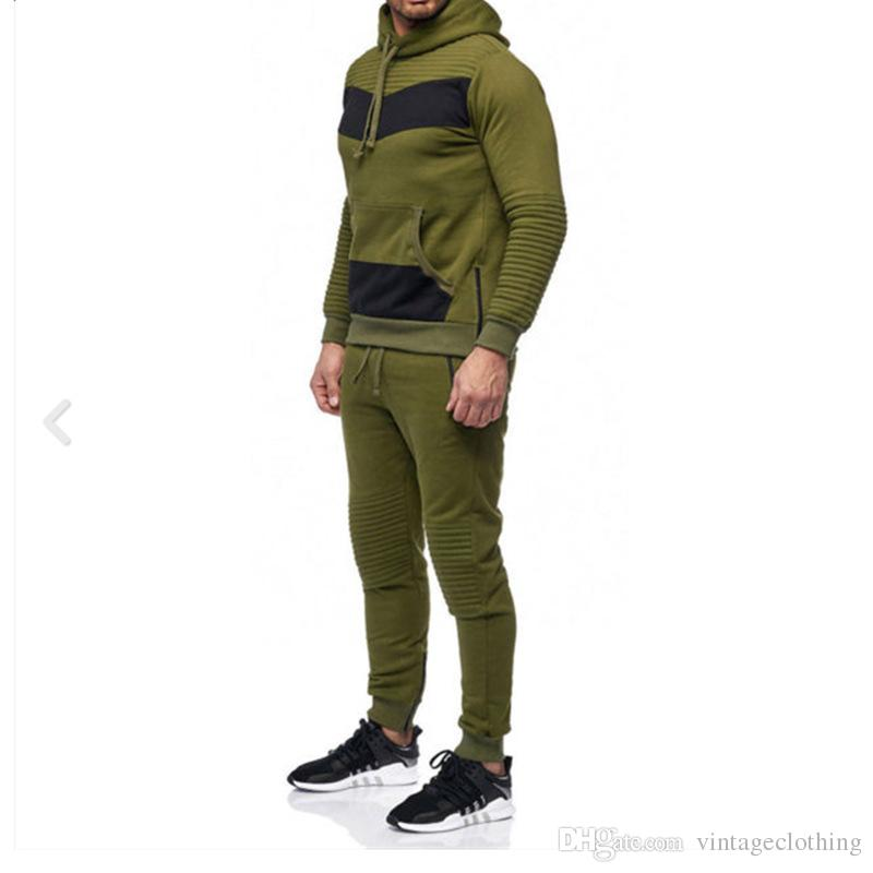 0a873c8cd 2019 Black Green Men Designer Tracksuit Set Patchwork Hoodies With Pants  Long Sleeve Outwear Two Pcs Set Tracksuits From Vintageclothing