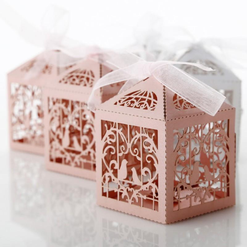 Laser Cut Wedding Sweets Love Bird Wedding Favor Candy Gifts Box New