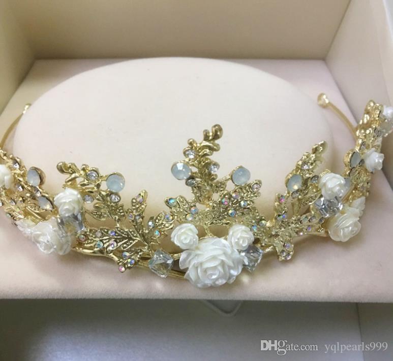 Çiçek taç, altın doğum günü, taç gelin şapkalar, Prenses çember taç