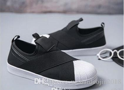 2018 Summer SUPERSTAR SLIP ON Sandals Loafers For Men Women head crossed strap black and white low Tops unisex sneakers 36-44 choice cheap online lgrOgv