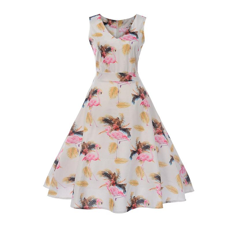 6a9dc7c6b510 Drop Shipping Western Fashion Women A Line Dress Flamingos Print ...