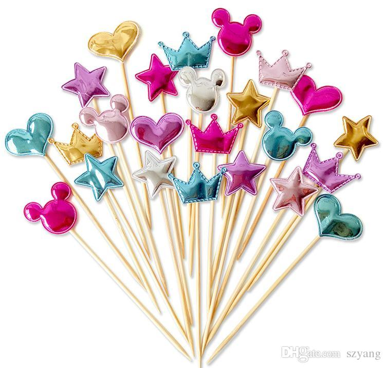 Fast shipping 5 pcs/lot lovely heart star crown cake topper for birthday cupcake flag baby shower party wedding decoration supplies SN1459
