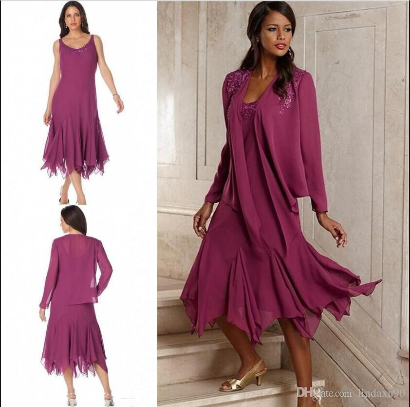 Plum Plus Size Mother Of The Bride Dresses With Jacket Tea Length Lace  Appliqued Chiffon Wedding Guest Dress