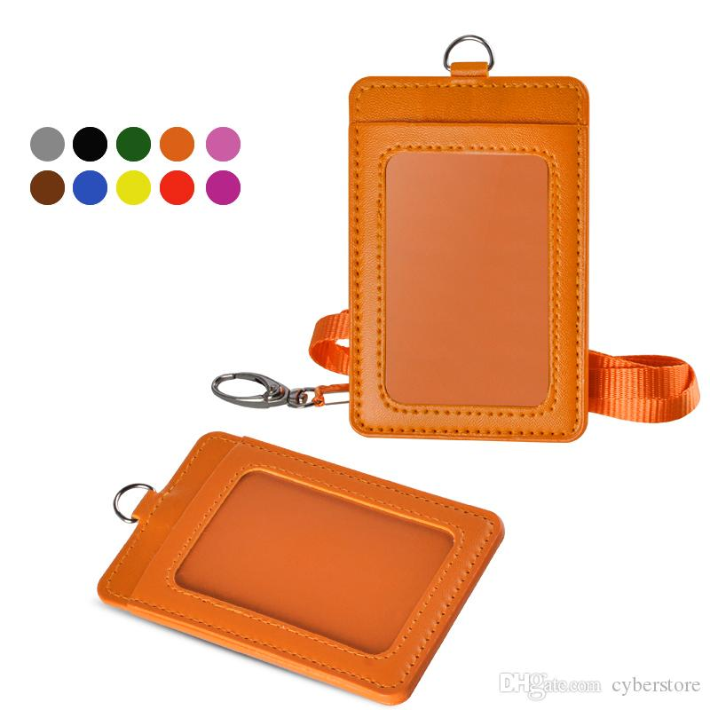 fdd3850046f1 Newest Cheapest Badge Holder PU Leather Vertical ID Card Wallet Case with  Detachable Lanyard Strap Business For Women and Men High Quality