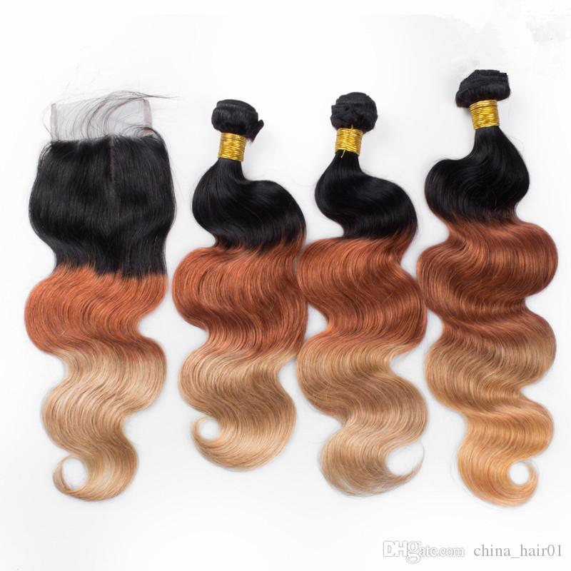 El pelo humano brasileño del tono de Ombre del tono tres con el cierre 1B / 33/27 El pelo humano de la Virgen de Ombre del blonde de la miel teje con el cierre del cordón 4x4