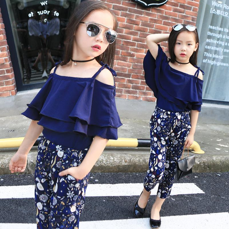 60b115594935 2019 Girls Sets Clothes Kids Fashion Tops Floral Pants Two Piece Set  Children Summer Suit Girls Outfits 7 8 9 10 11 12 13 14 Years Y18102407  From Gou07