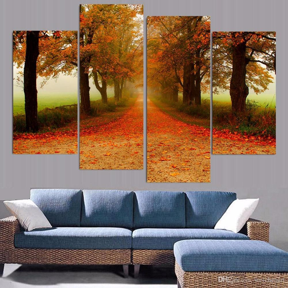 Canvas Painting Trees Fallen Leaves HD Printed Canvas Prints Wall Art Home Decor Poster Pictures for Living Room XA180C