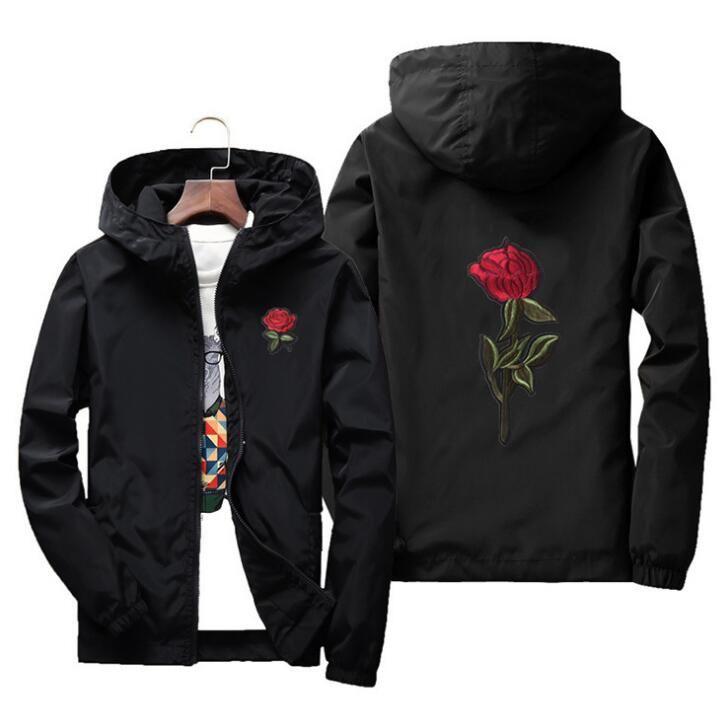 Rose Jacke Windbreaker Männer und Frauen Jacke neue Mode weiß und schwarz Rosen outwear Mantel