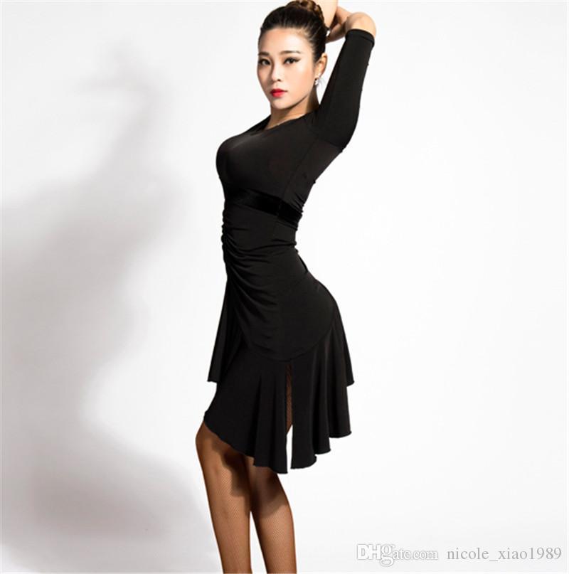 зеленый черный взрослый / девушка латинский танец платье сальса танго ча ча бальные конкуренции практика танца платье сексуальный V-воротник нерегулярные платье