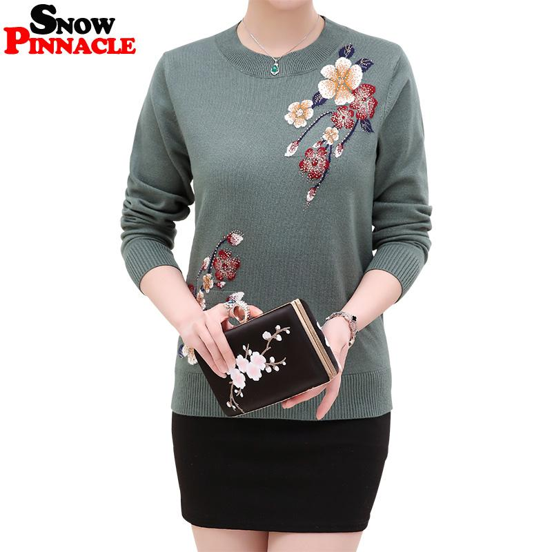 SNOW PINNACLE 2018 Spring Autumn Womens Cotton Sweater Embroidery Floral  Pullover Knitted Long Sleeve Soft Slim Sweaters 3XL UK 2019 From Kennethy 6e3e0404aa