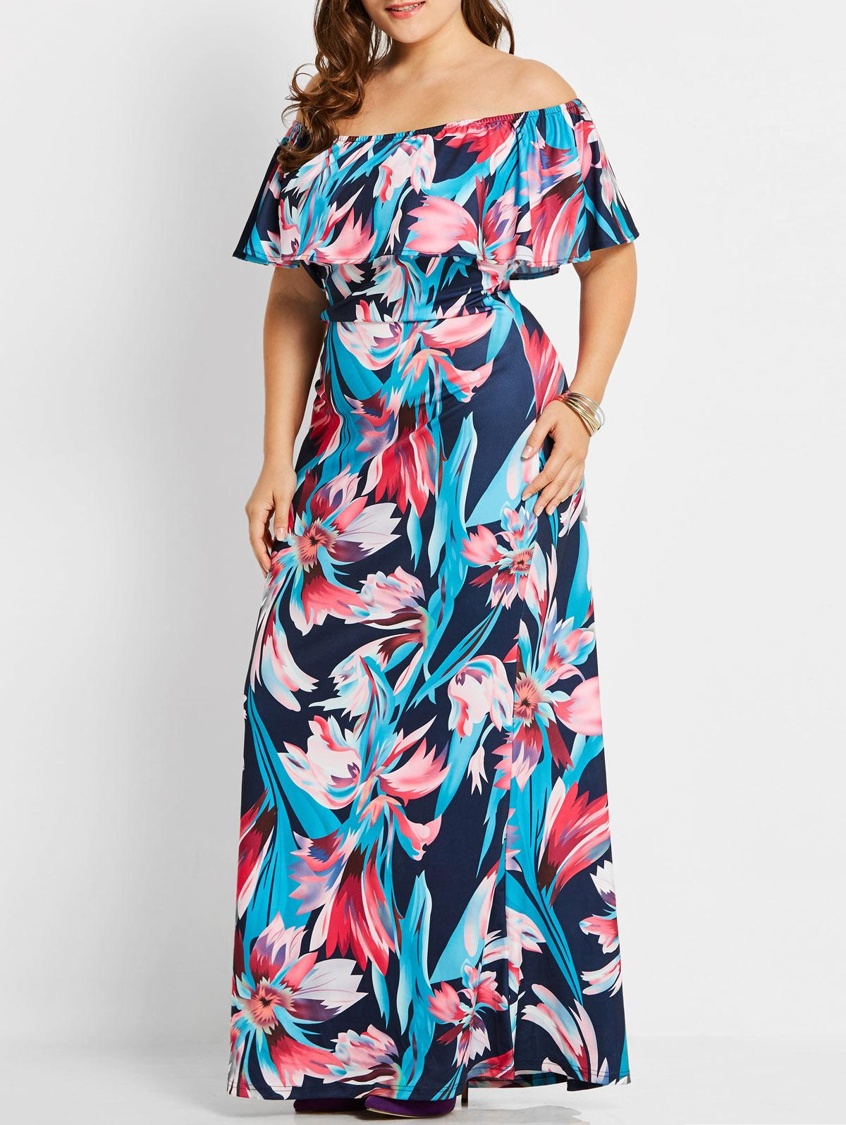 fd935ac8e3e 2019 ZAFUL Women Plus Size Floral Maxi Long Dress Tropical Off Shoulder  Short Sleeves Ruffles Dresses Casual Summer Dress Vestidos From Edmund02