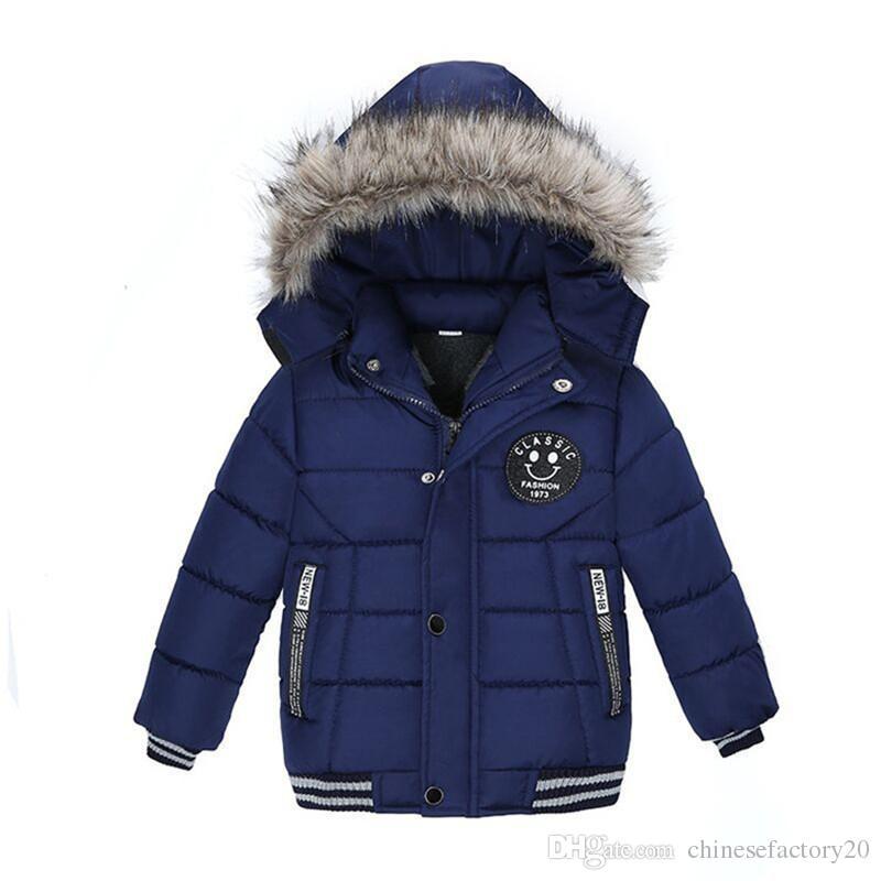 Bebés Meninos inverno Sorriso Jackets Roupa Overcoat coreano grosso com capuz de algodão acolchoado Crianças Moda Casual Zipper do menino Quente