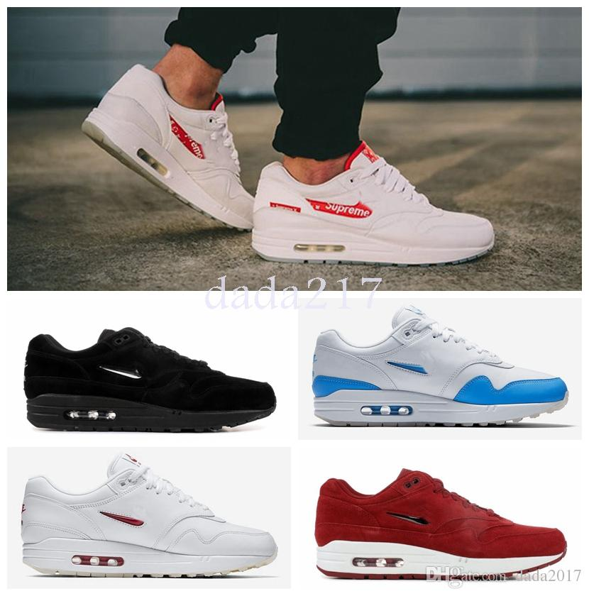 bd272609f85 2018 New Running Shoes for Men Women Air 1 Premium Sc Jewel University Blue  White Red Black Mens Trainers Designer Maxes Shoes Size36-45 2018 Air  Chaussures ...