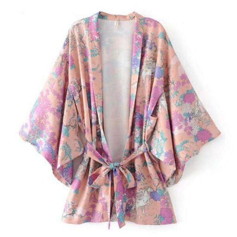86edc393ded6b2 Vintage V Neck Animal Horse Flower Print Kimono Shirt Summer Woman Bat  Sleeve Mid Long Loose Blouse Femme Blusas Top UK 2019 From Vanilla15