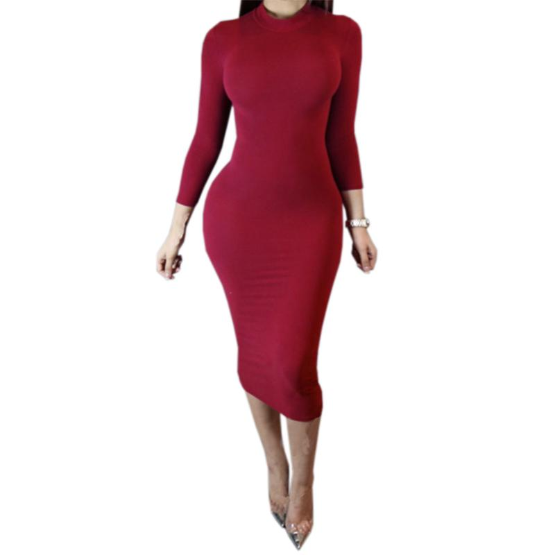 05df4e90ff Turtleneck Long Sleeve Autumn Winter Dress Sexy Bodycon Women ...