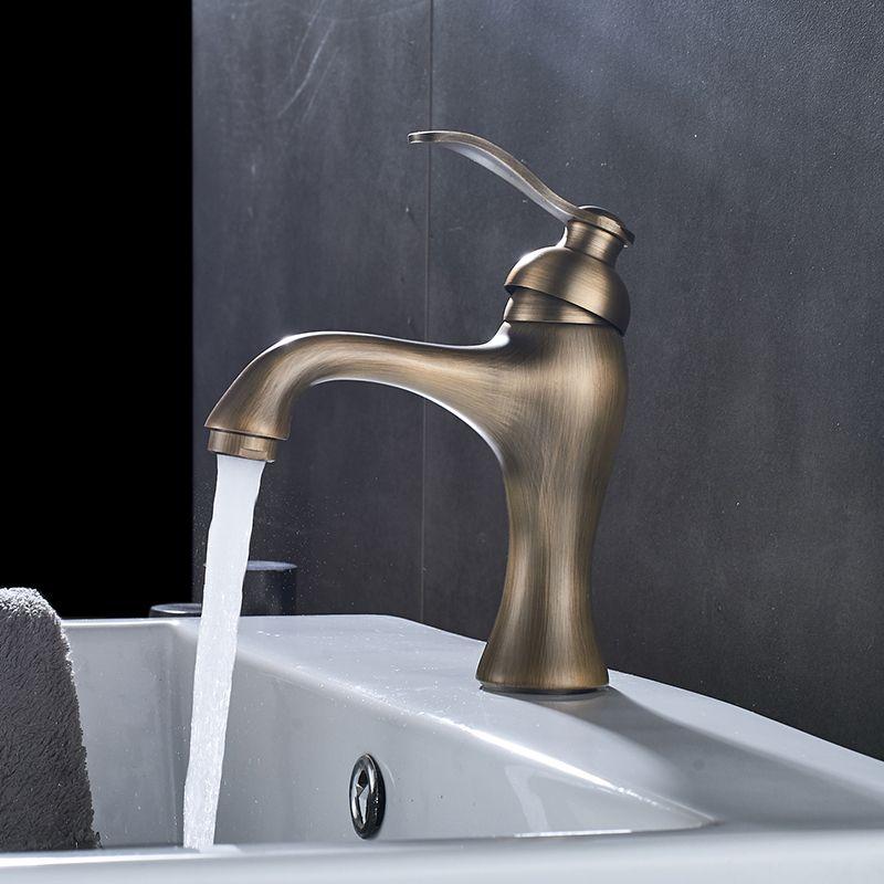 2019 Bathroom Classic Antique Brass Single Hole Wall Mounted Basin