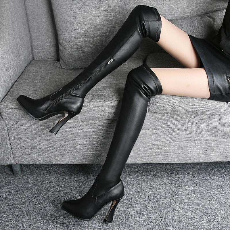 f6196a10a6c9 2018 Women New Autumn Winter Pointed Toe High Heels Over Knee Knight Boots  Female Slim PU Leather Black Side Zipper Boots Ski Boots Boots No 7 From  Meledy
