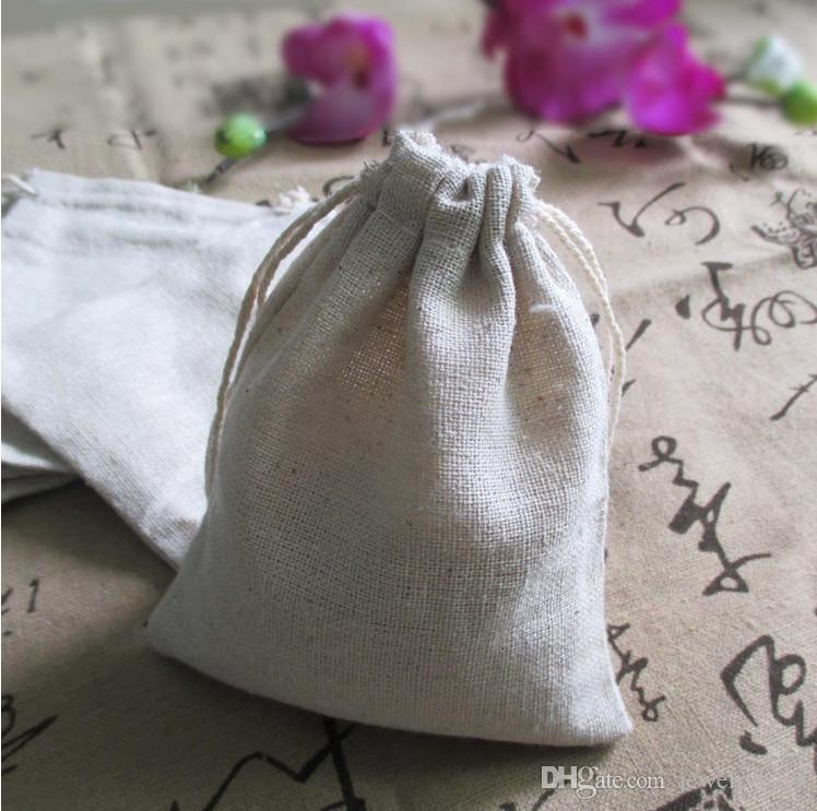 """Small Linen Gift Bags 8x10cm 3""""x4"""" Baby Shower Birthday Party Wedding Favor Holder Necklace Bracelet Jewelry Packaging Pouch"""