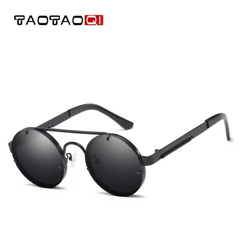 784f27c4dcaa TAOTAOQI Metal Steampunk Sunglasses Men Luxury Brand Fashion Round ...
