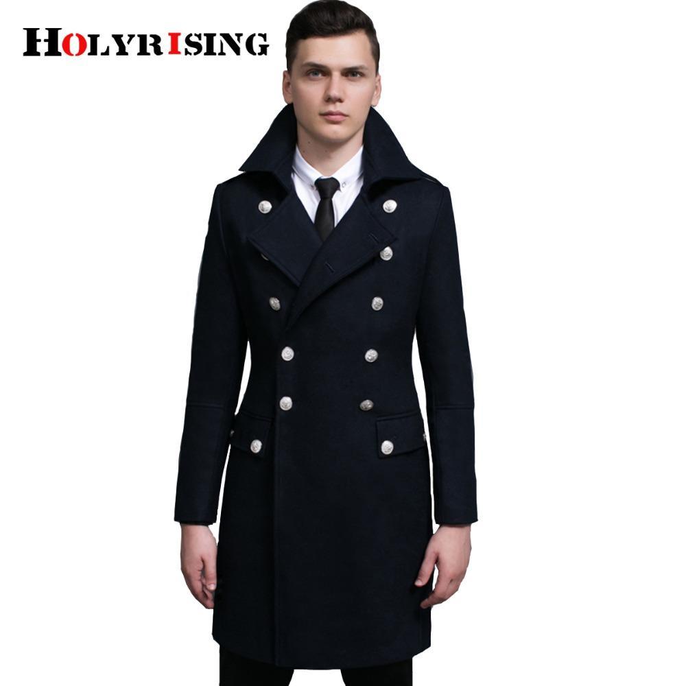 Spring Autumn Retro Men Wool Coats Double Button Jackets Long Turn Collar Male Slim Clothing Black Army Green Dark Blue S-6XL