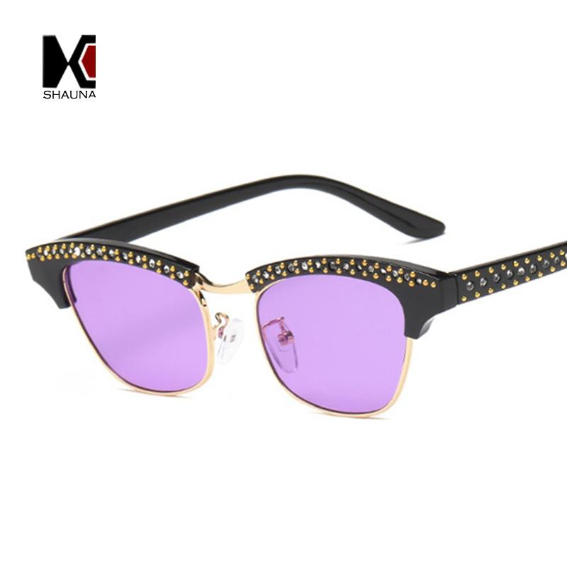 a7db41774c SHAUNA Popular Half Frame Women Cat Eye Sunglasses Fashion Men Clear Purple  Lens Shades UV400 Sunglass Cheap Sunglasses From Hoganr