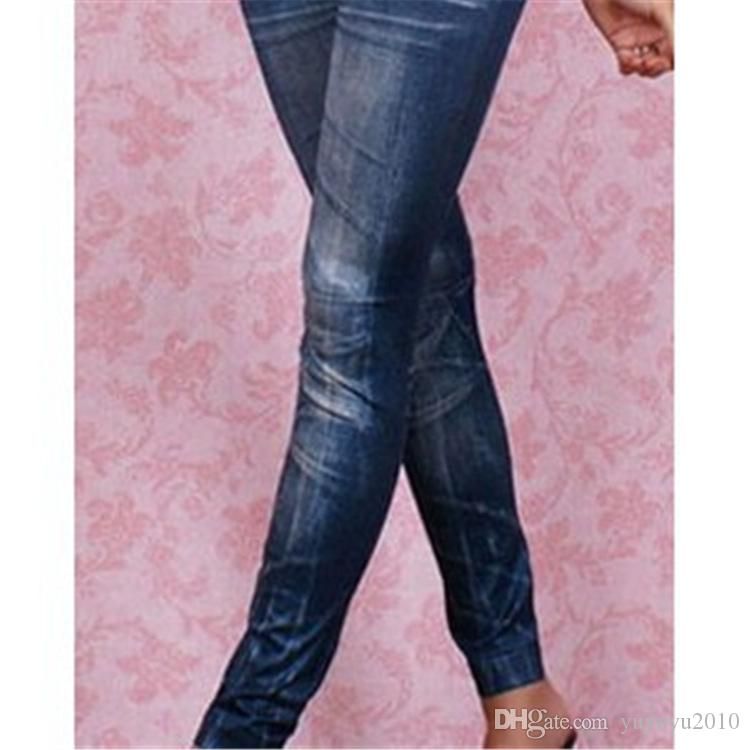 Calças de brim das Mulheres meados de cintura fina leggings longo treino de imitação de jeans mulheres de emagrecimento leggings TE2418 estilo jean cinza leggings sem costura YWOM8163